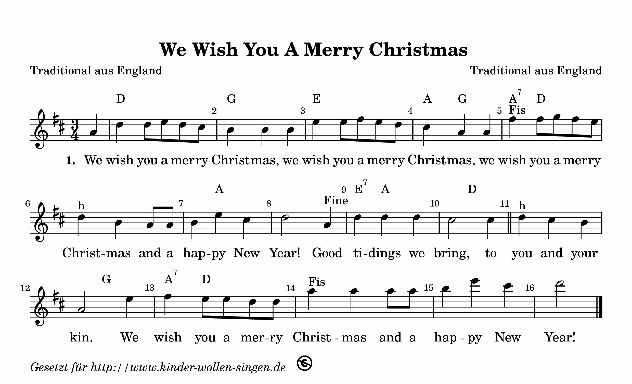 Weihnachtslieder Mit Noten Kostenlos Ausdrucken.We Wish You A Merry Christmas Kostenloses Weihnachtslied